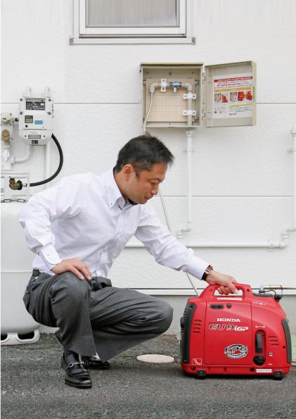 非常用発電機 非常用蓄電池 停電、災害に強いLP ガス発電機