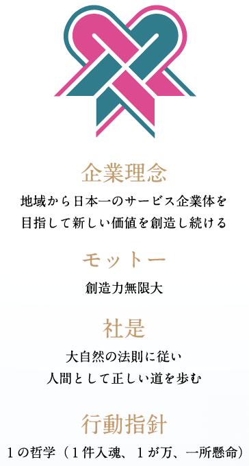企業理念:地域から日本一のサービス企業体を目指して新しい価値を創造し続ける
