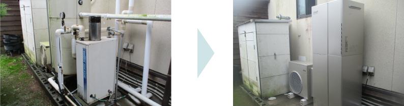 ハイブリット給湯器(エコワン)に取替 水回りのトラブル